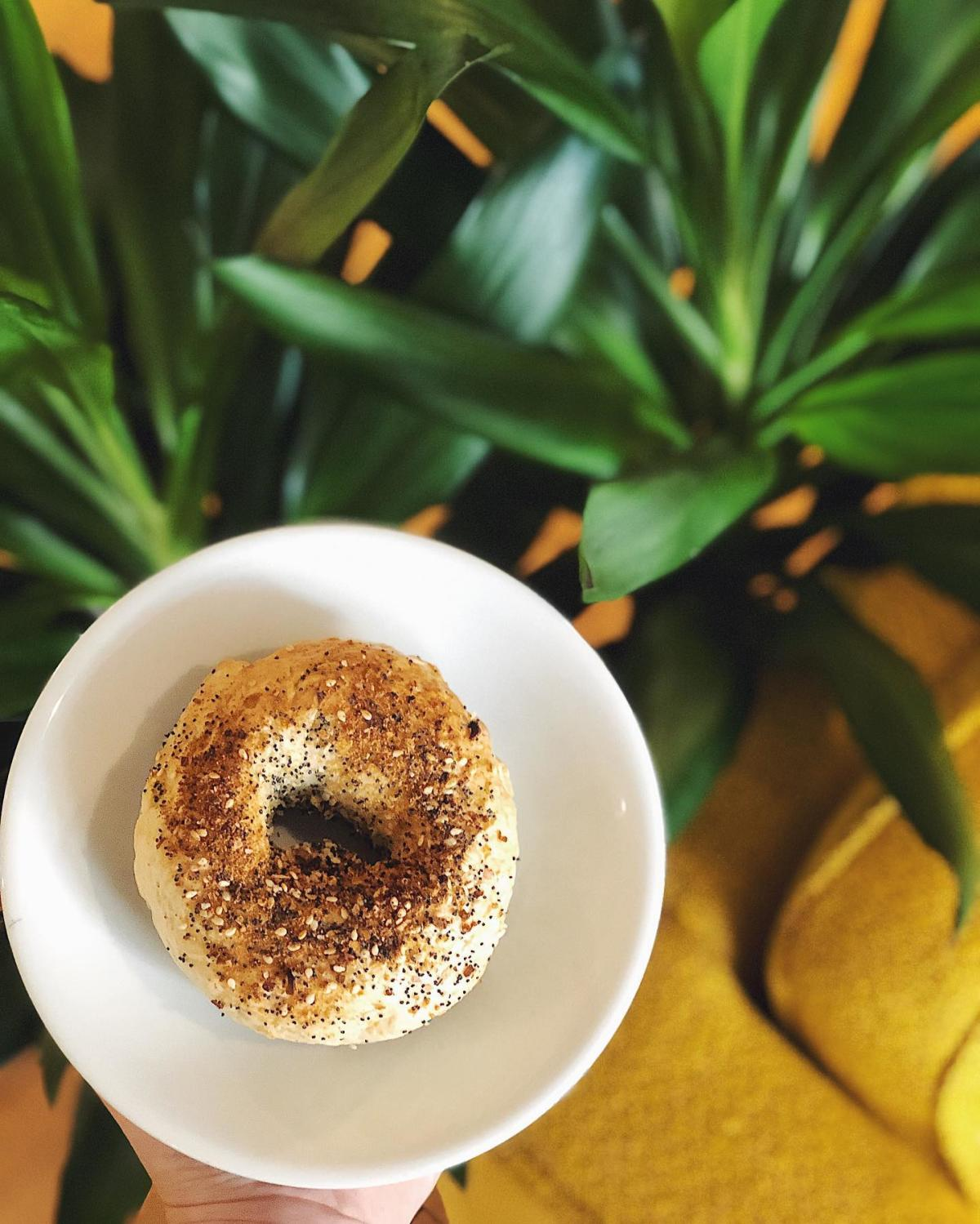 Fresh, scratch-made, vegan Everything bagel on a plate at Populace Coffee in Bay City