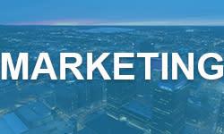"""""""Marketing"""" on Blue Background"""