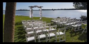 Wedding setup at Sunset Terrace at Lighthouse Grill at Stump Pass