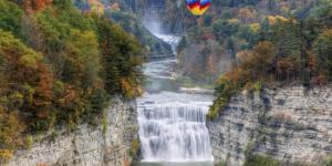 Letchworth State Park - Balloon Over Middle Falls