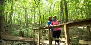 A Couple Standing On A Bridge In A Forest at Big Trees In Sandy Springs