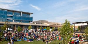 A crowd of people on City Green at City Springs