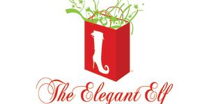 Elegant Elf Marketplace Logo: red shopping bag, white elf high heel on the bag.