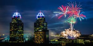 Fireworks illuminating the Sandy Springs skies above the King and Queen Buildings at the annual Stars and Stripes Fireworks Celebration.