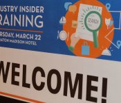 Close-up shot of the welcome poster for the March 2018 Industry Insider Training event