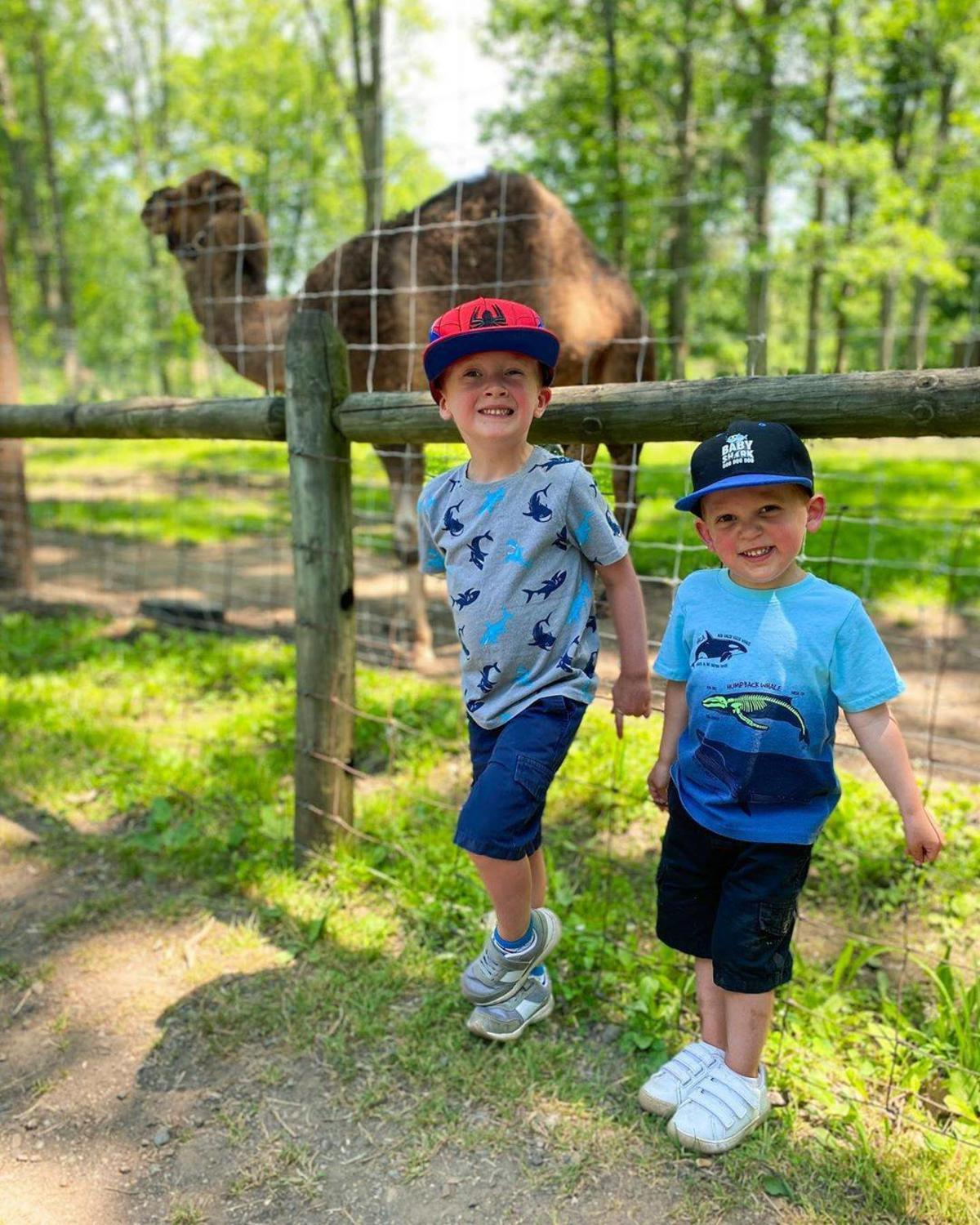 Two young boys smiling in front of a camel at Wilderness Trails Zoo in Birch Run