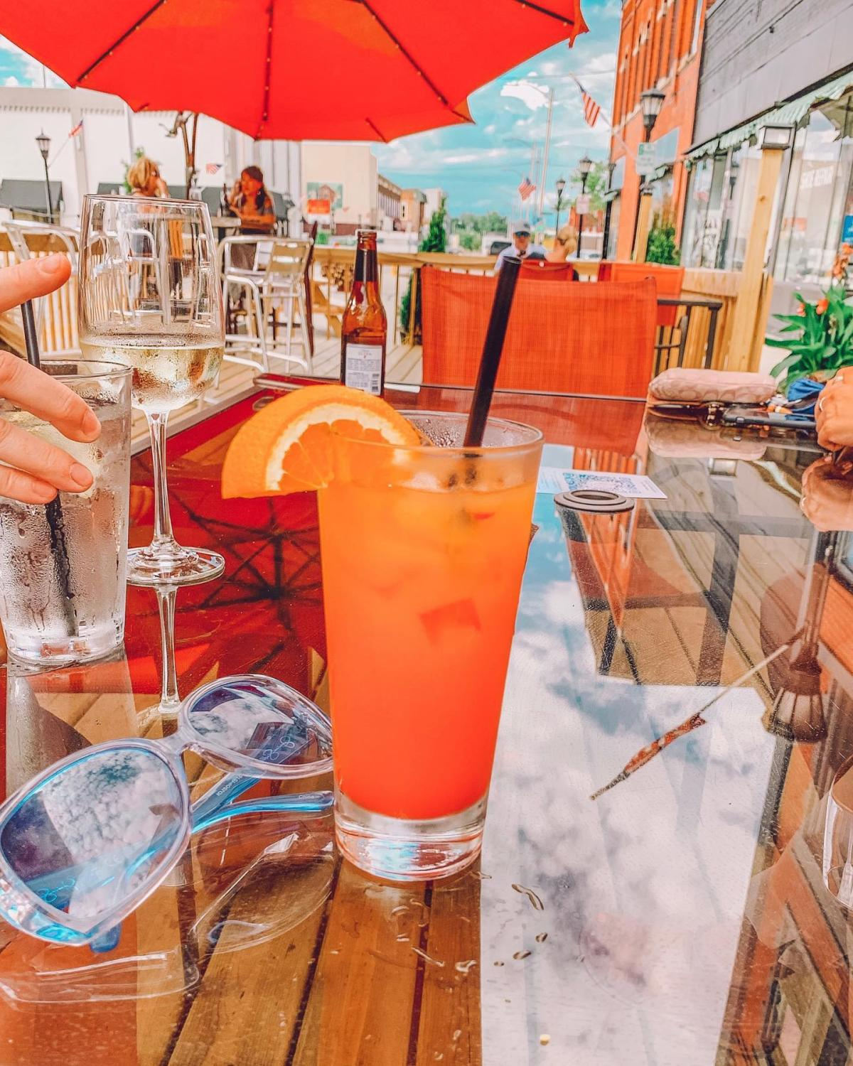 Summery drinks on the outdoor patio at Old City Hall in Bay City