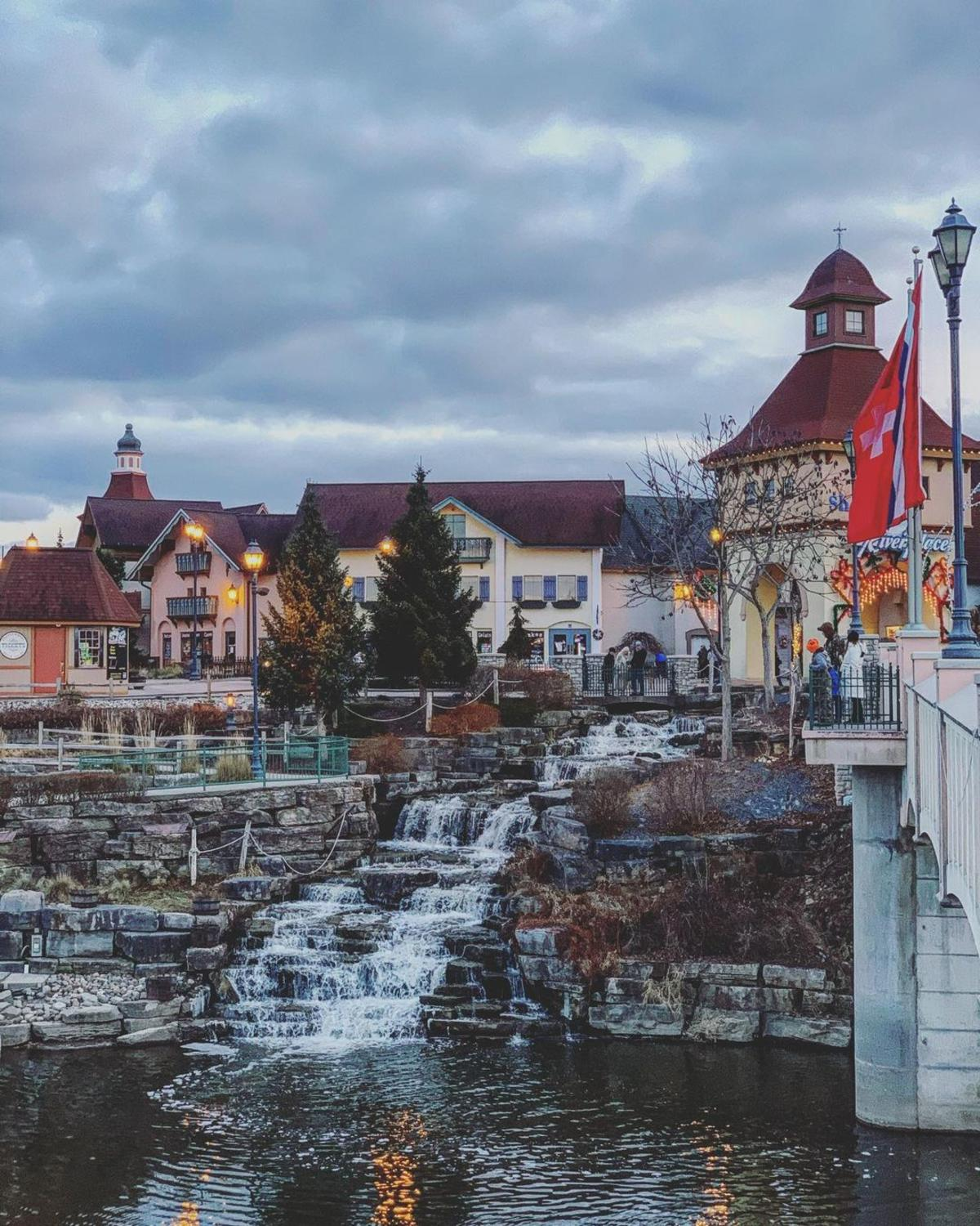 Gorgeous views of the iconic Frankenmuth River Place Shops waterfalls on a wintry day