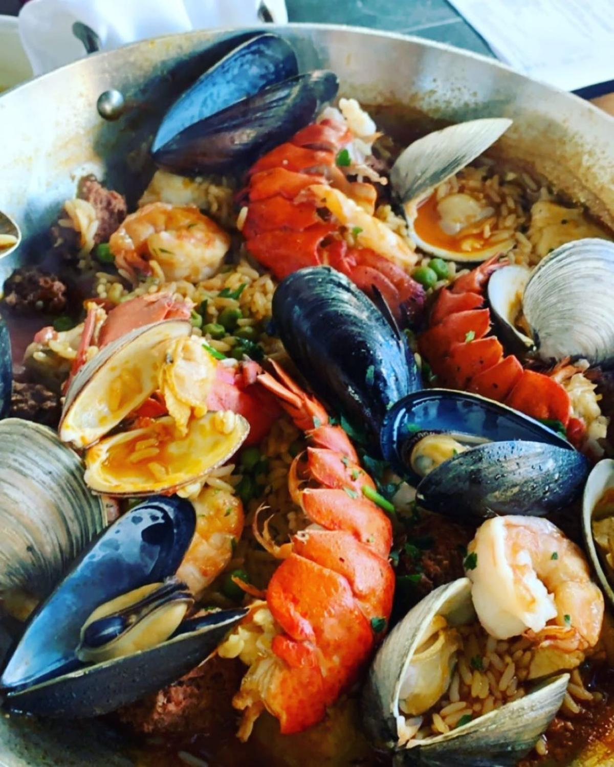 Gorgeous, colorful paella served in a skillet at Real Seafood Company in Bay City