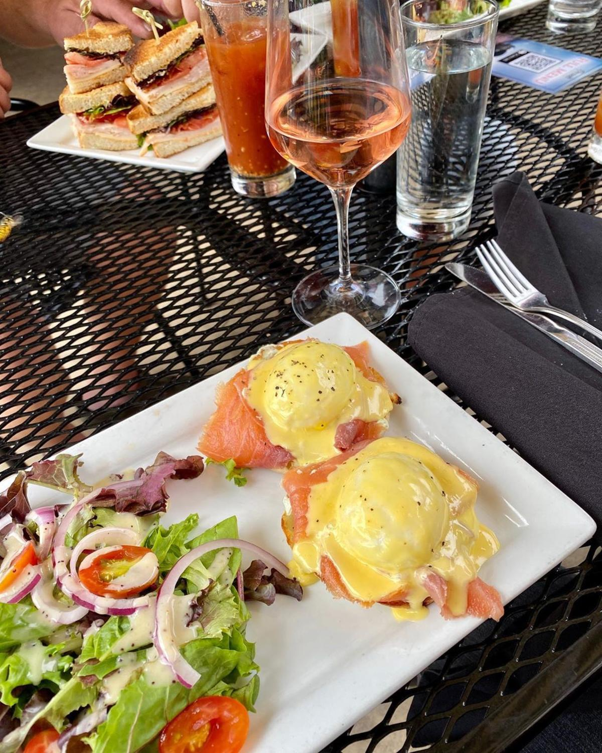 Brunch & brunch cocktails on the outdoor patio of Prost! Wine Bar & Charcuterie in Frankenmuth