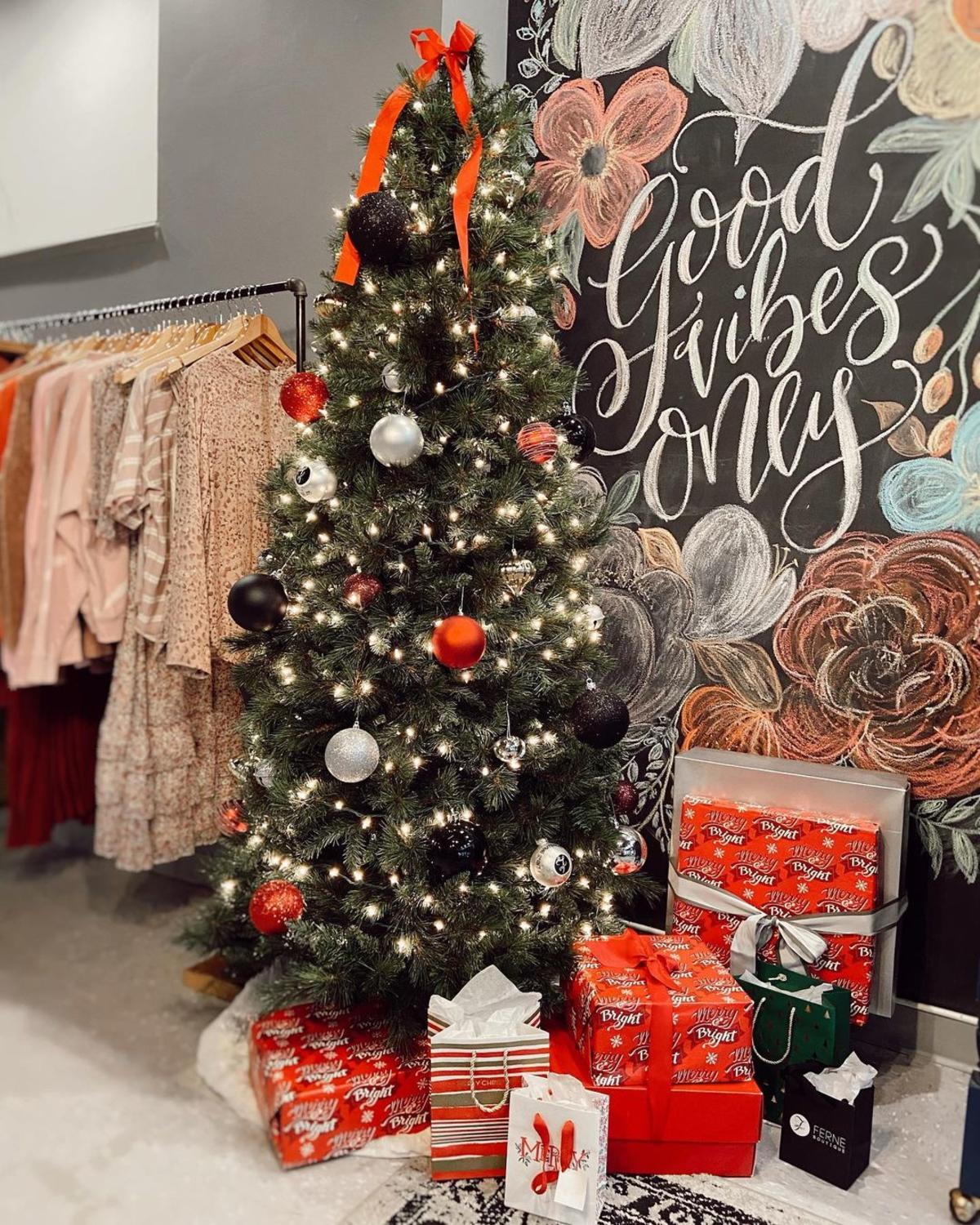 Christmas tree, presents and holiday decorations at Ferne Boutique in Bay City