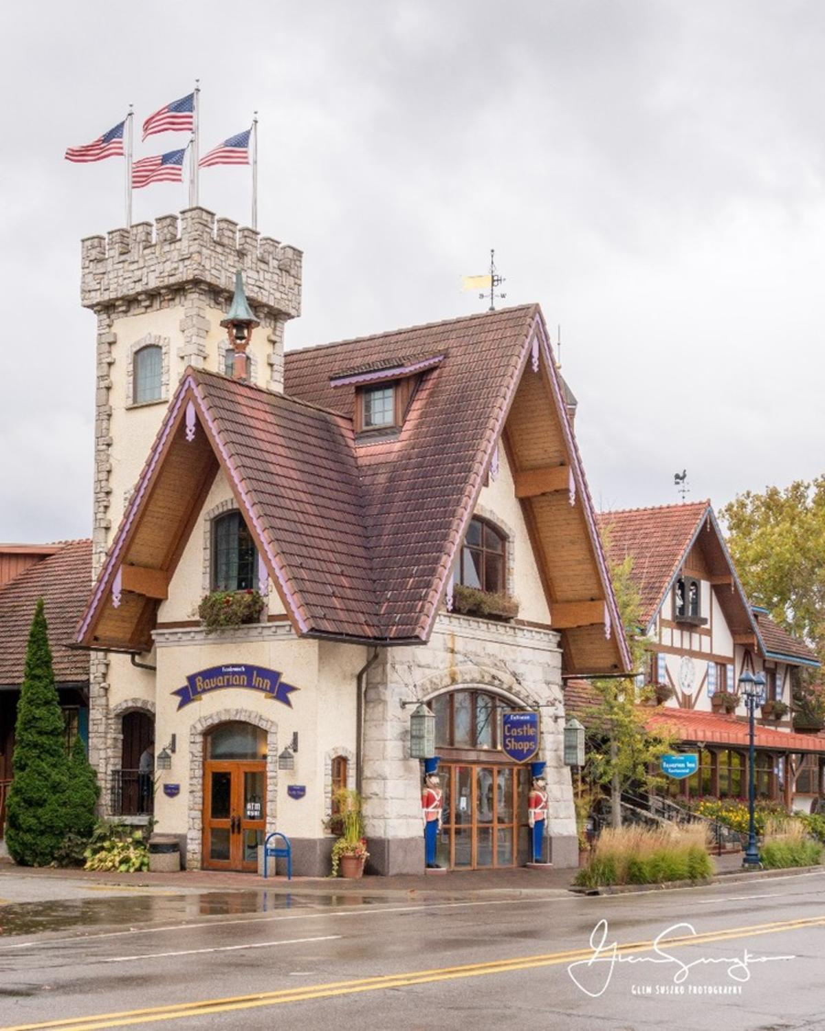 Street view of the Bavarian Inn Castle Shops in Frankenmuth