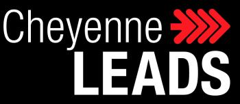 A black rectangle with white text that reads, Cheyenne LEADS