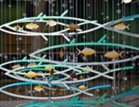Photo of artwork titled Cruising School, mixed media mobile featuring aluminum fish.