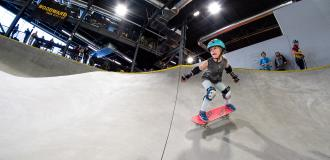 young girl skateboarding