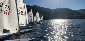 Group of sail boats lined up in the water