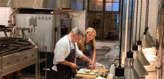 Chef John Murcko and Host Locke Huhges in the kitchen