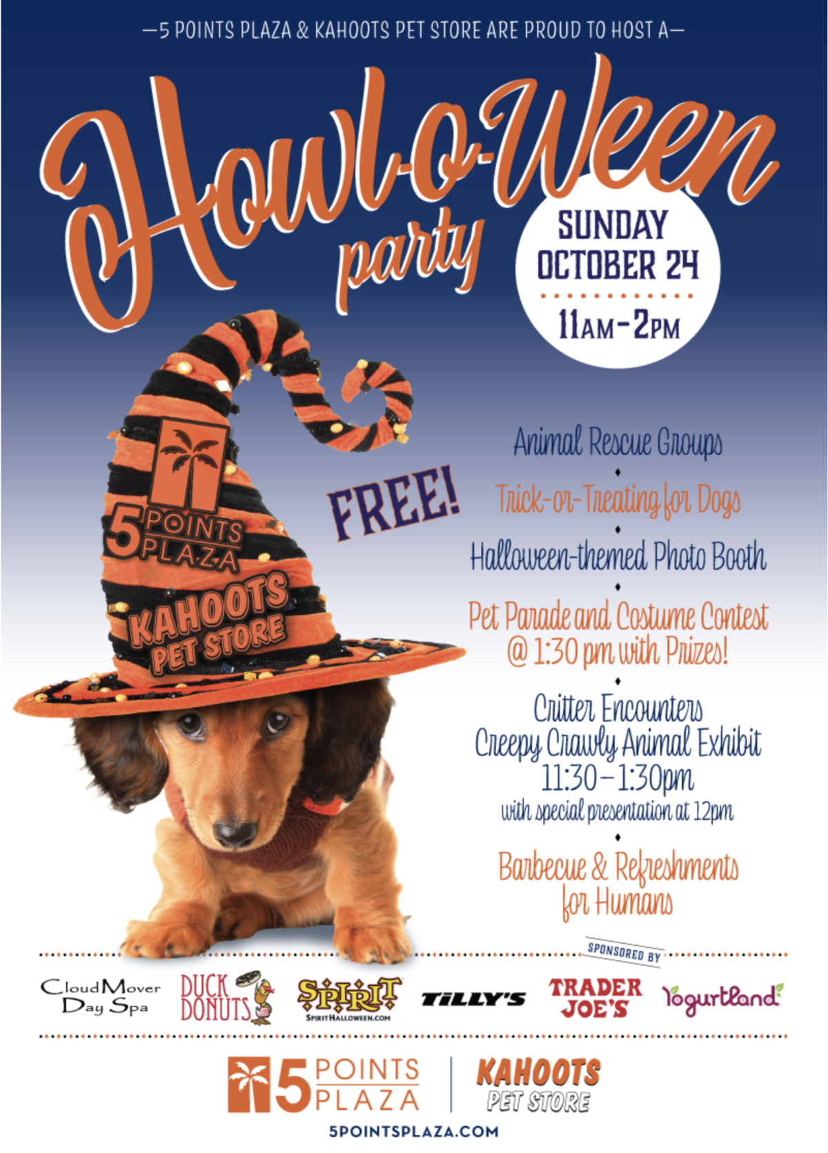 5 Points Plaza and Kahoots Pet Store in Huntington Beach, CA host a Howl-O-Ween party October 24