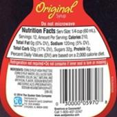 Store bought syrup nutritional facts.