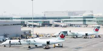 Air Canada planes on the tarmac at Pearson International Airport