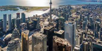 The Toronto skyline from the air