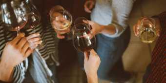 People cheers wine glasses