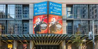Outside the Princess of Wales Theatre on King Street West in Toronto's Entertainment District