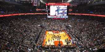 Fans cheer on the Toronto Raptors at Scotiabank Stadium