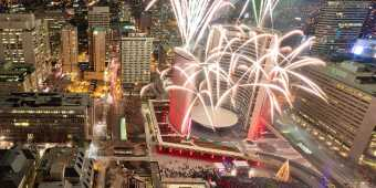 Fireworks in Toronto over City Hall during the Cavalcade of Lights