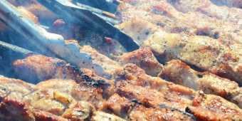 Souvlaki skewers on the grill at the Toronto Taste of The Danforth