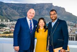 Pictured from Left to Right: Alderman James Vos, Mayoral Committee Member for Economic Opportunities and Asset Management, including Tourism, for the City of Cape Town; Makiko Matsuda Healy, Managing Director, Tourism Market Development, NYC & Company; Enver Duminy, CEO, Cape Town Tourism - Credit Photographer credit: Johann Botha, iPhoto SA