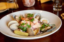Seafood dish featuring mussels and shrimp.