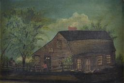 Painting Of A House And Trees At Dusk