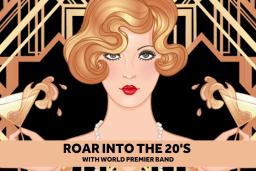 "Blond woman with red lipstick holding two martini glasses that are spilling over with liquid and the text: ""roar into the 20's with World Premier Band"" underneath."