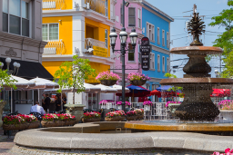 Patio seating surrounds the fountain at DePasquale Square in the Federal Hill neighborhood of Providence
