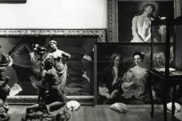 Black and white photo of RISD Museum sculptures and paintings