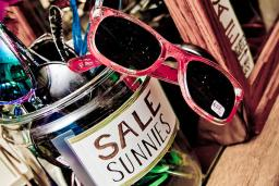 Sunglasses in a sale jar at a vintage shop in Providence, RI