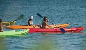 Group of people kayaking with Glass Bottom Rentals