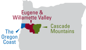 Eugene, Cascades & Coast map
