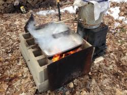 Our first attempt at making maple syrup.