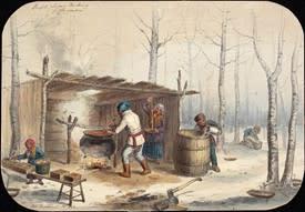 Sugar Making in Montreal, Canada (1852)