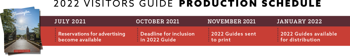 2022 Visitors Guide Production Schedule