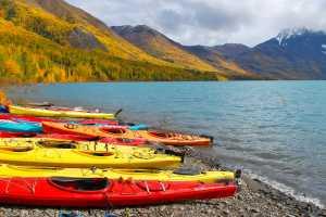 Kayaks on the shore of Eklutna Lake outside Anchorage