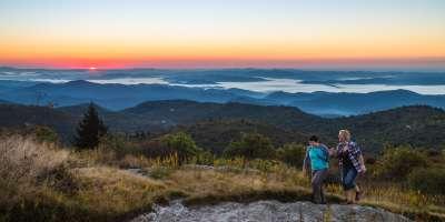 Couple Hiking at Black Balsam at Sunrise