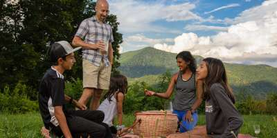 A family enjoys a picnic on the Blue Ridge Parkway near Asheville, NC