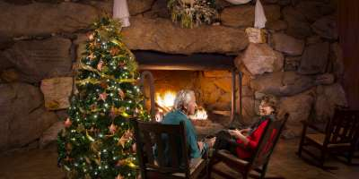 Christmas Fireplace at Omni Grove Park Inn