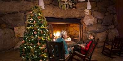 Christmas Fireplace at Omni Grove Park Inn