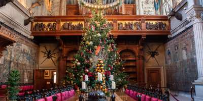 A 35-foot Fraser fir tree serves as the centerpiece for Christmas at Biltmore in Asheville, NC