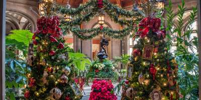 The Winter Garden decorated for Christmas at Biltmore in Asheville, NC