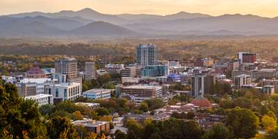 The Asheville, NC skyline at sunset